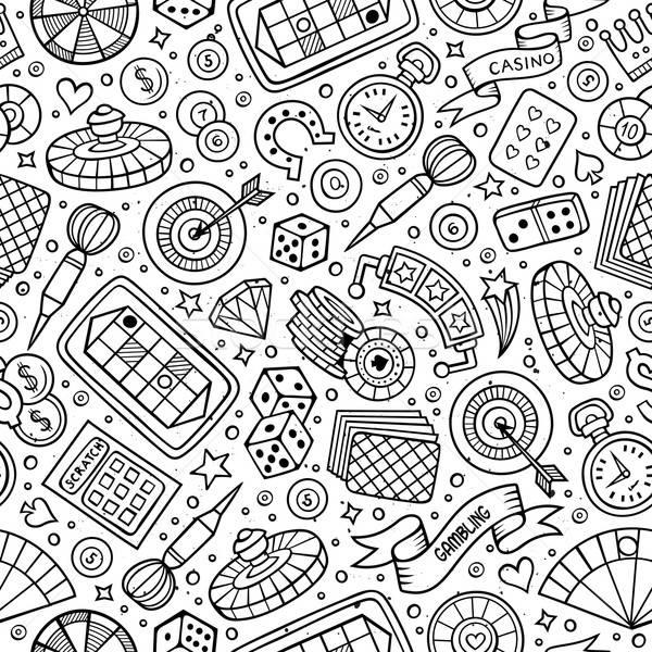 Cartoon hand-drawn casino, games seamless pattern Stock photo © balabolka