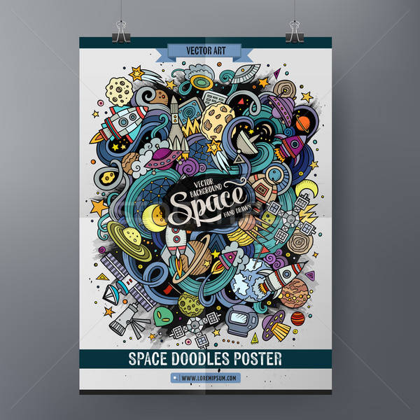 Cartoon cute doodles hand drawn space poster Stock photo © balabolka