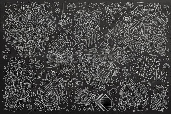 Stock photo: Chalkboard vector cartoon set of ice-cream objects