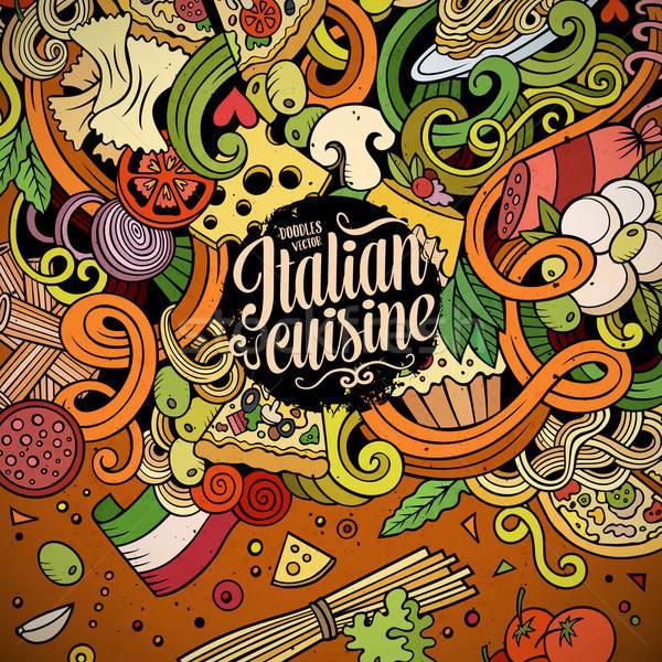 Foto d'archivio: Cartoon · scarabocchi · cucina · italiana · illustrazione · colorato · dettagliato