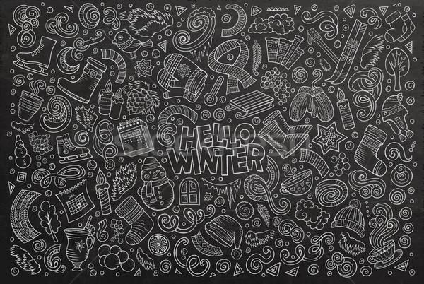 Karikatür ayarlamak kış sezonu nesneler kara tahta vektör Stok fotoğraf © balabolka