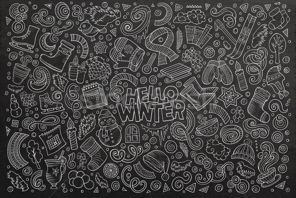 Cartoon набор зимний сезон объекты доске вектора Сток-фото © balabolka