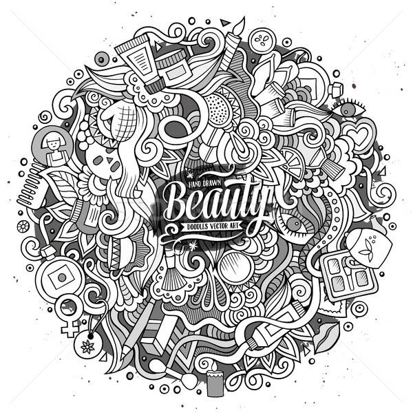 Rajz firkák kozmetika keret terv aranyos Stock fotó © balabolka