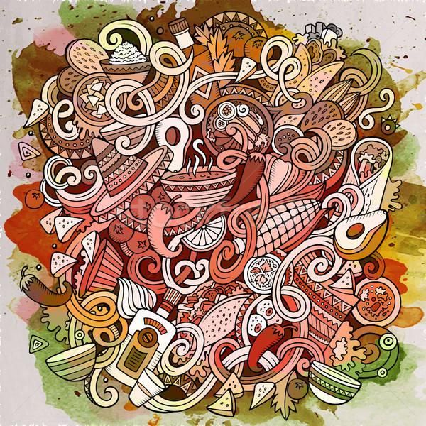 Cartoon cute mexicaans eten illustratie Stockfoto © balabolka