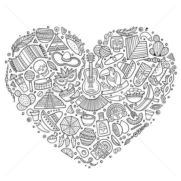 Set of Latin American cartoon doodle objects Stock photo © balabolka