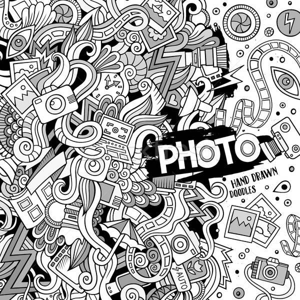 Cartoon cute doodles hand drawn photo illustration. Stock photo © balabolka
