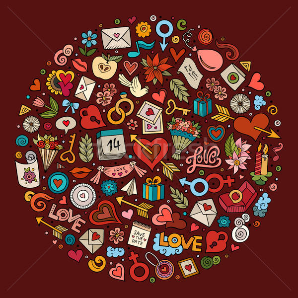 Vector set of Love cartoon doodle objects Stock photo © balabolka