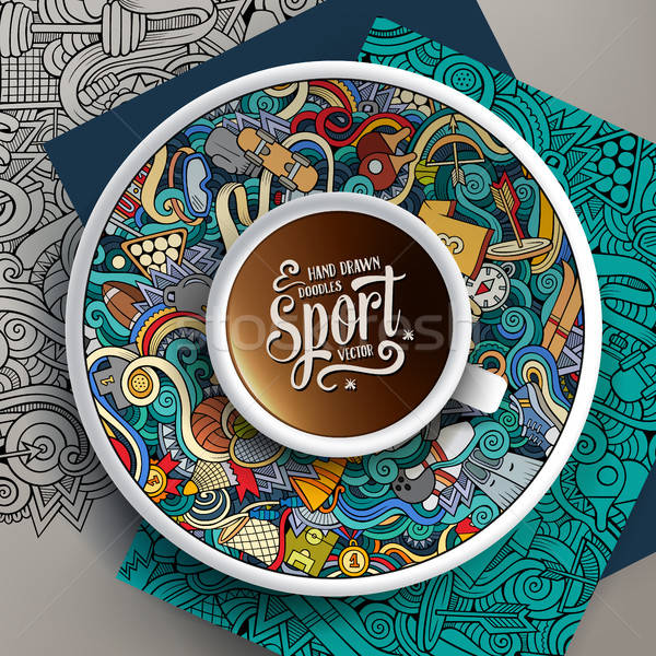 Vector up of coffee and Sport doodles on a saucer, paper and background Stock photo © balabolka