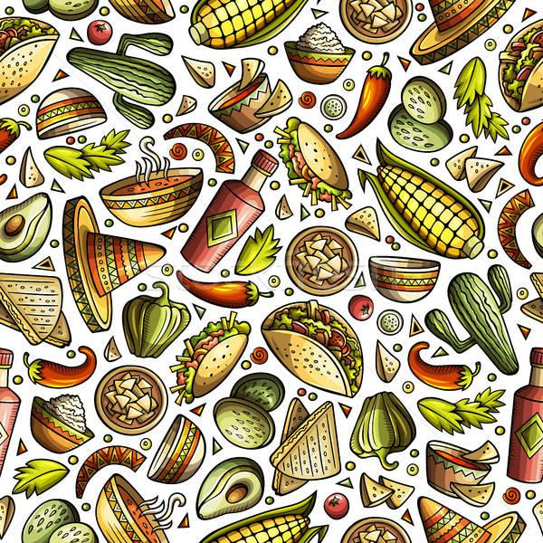 Foto stock: Cartoon · cute · dibujado · a · mano · comida · mexicana · colorido