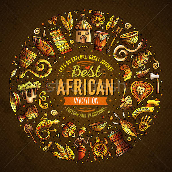 セット アフリカ 漫画 いたずら書き オブジェクト フレーム ストックフォト © balabolka