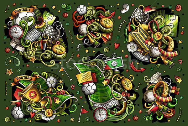Vector doodles cartoon set of football combinations of objects Stock photo © balabolka