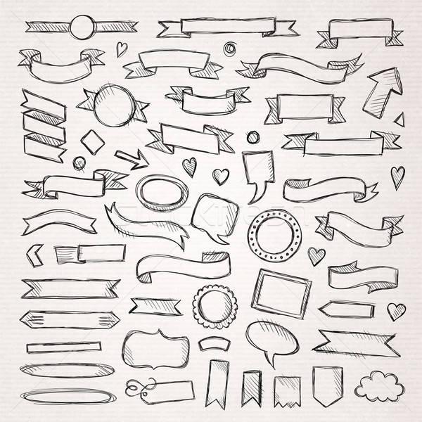 Foto stock: Dibujado · a · mano · boceto · elementos · papel · lápiz · marco