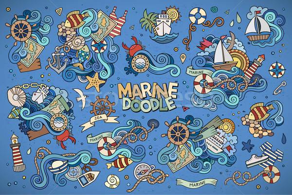 Marines nautique dessinés à la main vecteur symboles objets Photo stock © balabolka