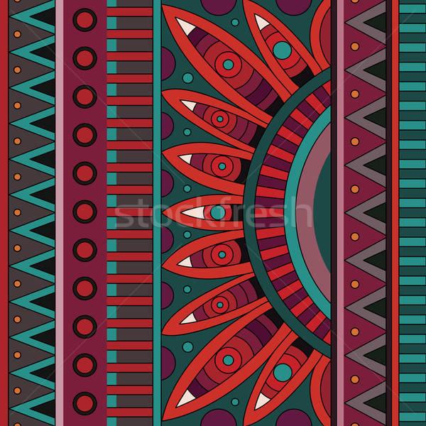 Foto stock: Resumen · vector · tribales · étnicas · patrón · geométrico
