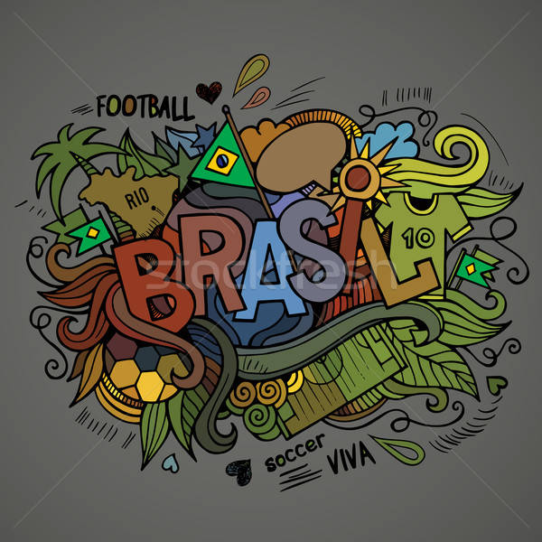 Brasil Summer Vector hand lettering Stock photo © balabolka