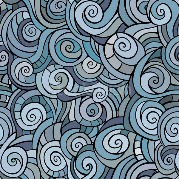 Vector seamless blue winter abstract pattern with waves and curl Stock photo © balabolka