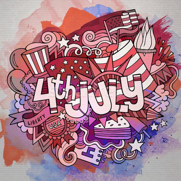 Negyedike nap rajz vektor kézzel rajzolt firka Stock fotó © balabolka