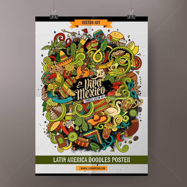 Cartoon hand-drawn doodles Latin American poster Stock photo © balabolka