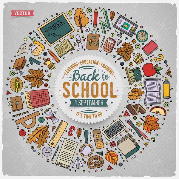 Set of School cartoon doodle objects, symbols and items Stock photo © balabolka
