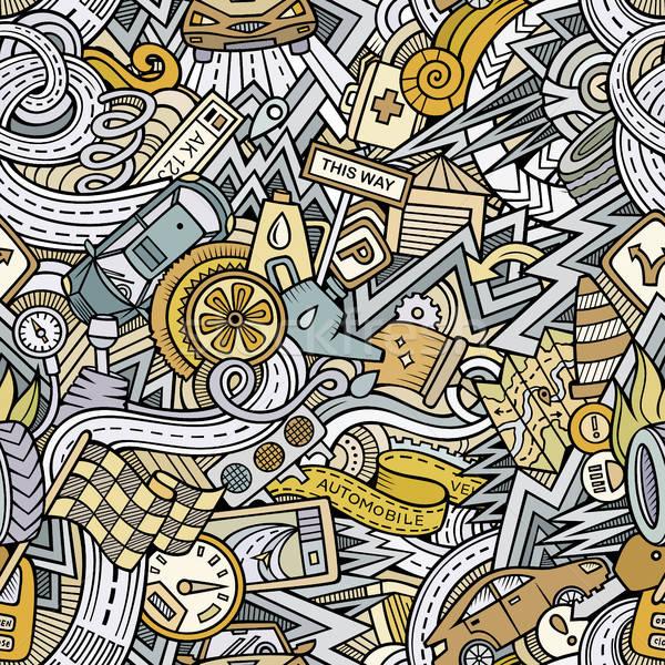 Desenho animado carro estilo sem costura Foto stock © balabolka