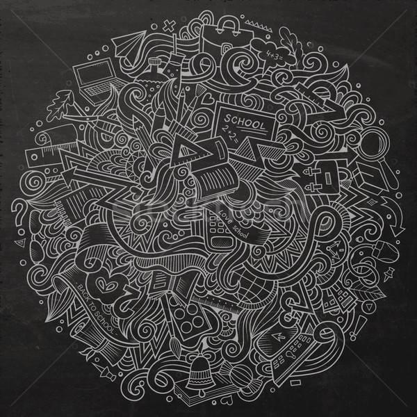 Rajz firkák kézzel rajzolt iskola illusztráció aranyos Stock fotó © balabolka