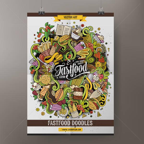 Desenho animado fast-food cartaz modelo colorido Foto stock © balabolka