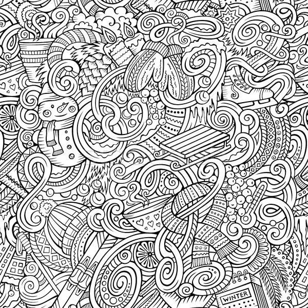 Cartoon doodles Winter season seamless pattern Stock photo © balabolka