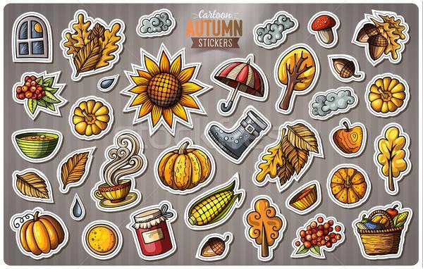 Stock photo: Set of Autumn season cartoon vector stickers