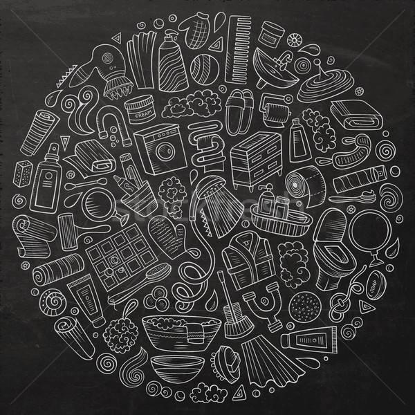 Foto stock: Vetor · conjunto · banheiro · desenho · animado · rabisco
