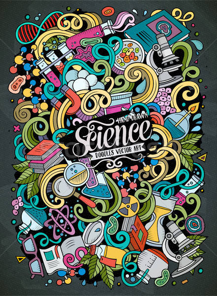 Stock photo: Cartoon cute doodles Science illustration