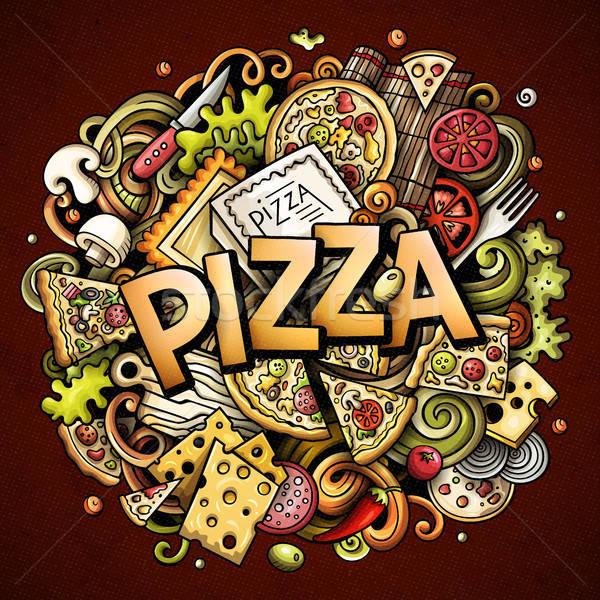 Cartoon cute scarabocchi pizza parola colorato Foto d'archivio © balabolka