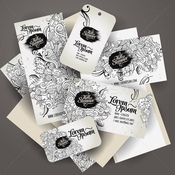 Corporate Identity templates set with doodles summer Stock photo © balabolka