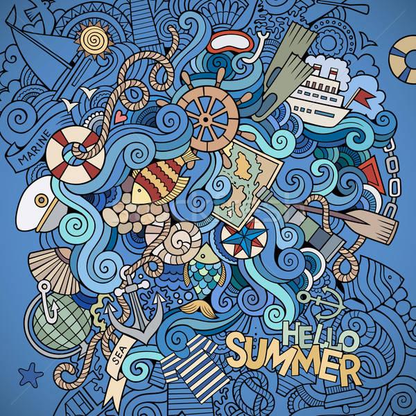 морской морской вектора аннотация декоративный Сток-фото © balabolka