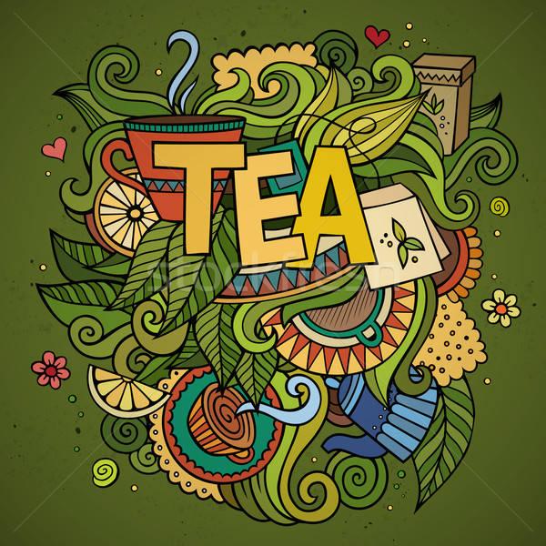 Tea kéz firkák elemek természet nyár Stock fotó © balabolka