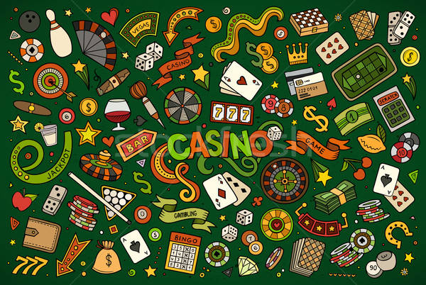 Colorful vector hand drawn doodles cartoon set of Casino objects Stock photo © balabolka