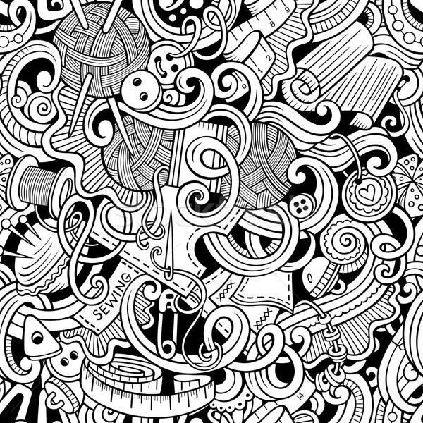 Cartoon handmade and sewing doodles seamless pattern Stock photo © balabolka