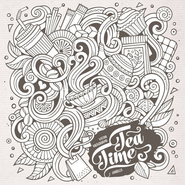Stockfoto: Cartoon · cafe · coffeeshop · illustratie · lijn