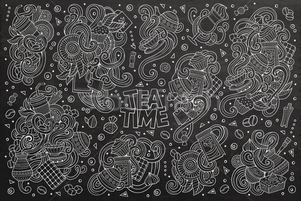 向量 塗鴉 漫畫 集 茶 咖啡 商業照片 © balabolka