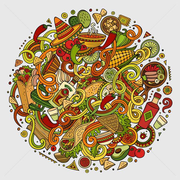 Rajz aranyos firkák mexikói étel illusztráció kézzel rajzolt Stock fotó © balabolka
