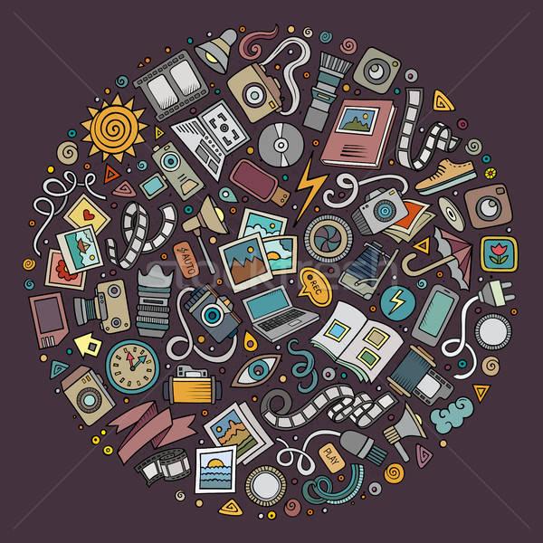 Set of Photo studio cartoon doodle objects Stock photo © balabolka