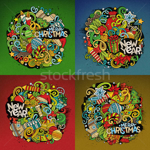 New Year cartoon 4 square composition backgrounds Stock photo © balabolka