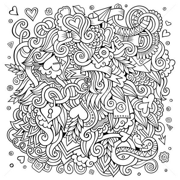 Stock photo: Cartoon vector hand-drawn Love Doodles. Sketchy design background