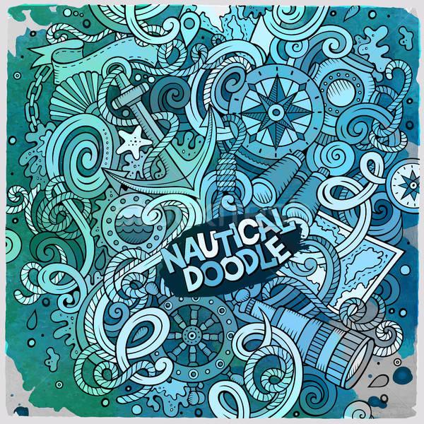Cartoon cute doodles hand drawn nautical illustration Stock photo © balabolka