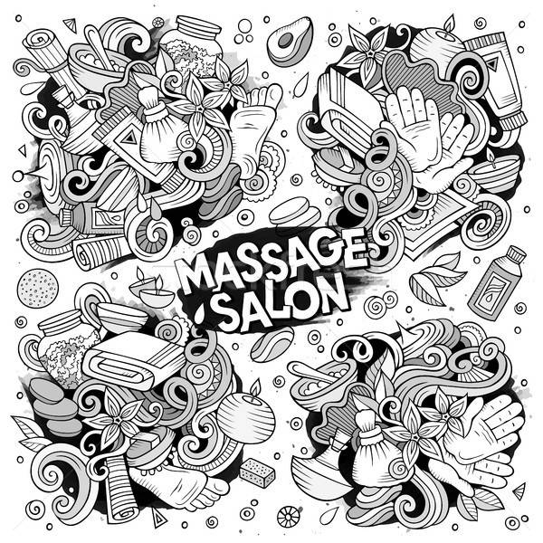 Vector set of Massage and Spa doodle designs Stock photo © balabolka