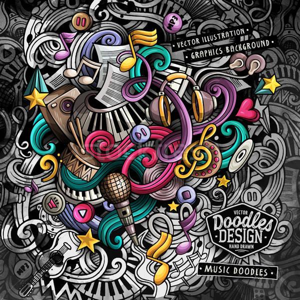 Doodles Music vector illustration Stock photo © balabolka