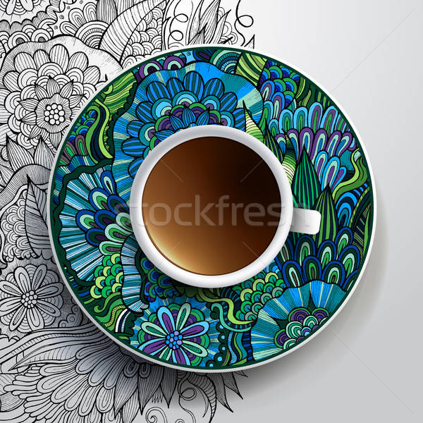 Cup of coffee and hand drawn floral ornament Stock photo © balabolka