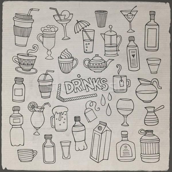 вектора набор различный рисованной напитки знак Сток-фото © balabolka