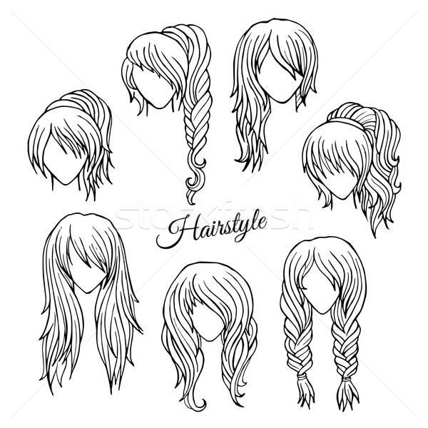 Hair styles sketch vector set Stock photo © balabolka