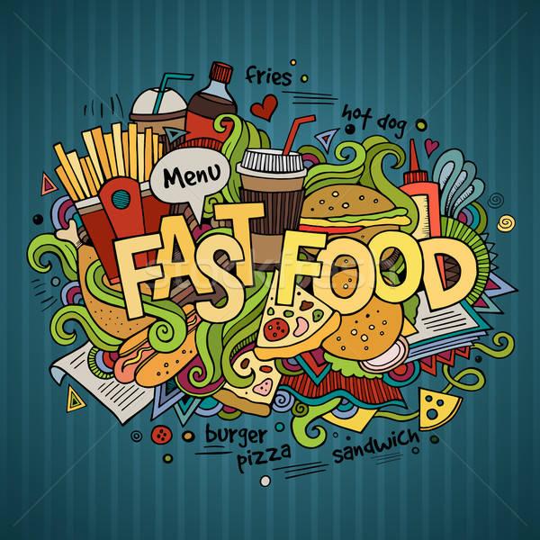 Stok fotoğraf: Fast-food · el · karalamalar · elemanları · gıda · kahve