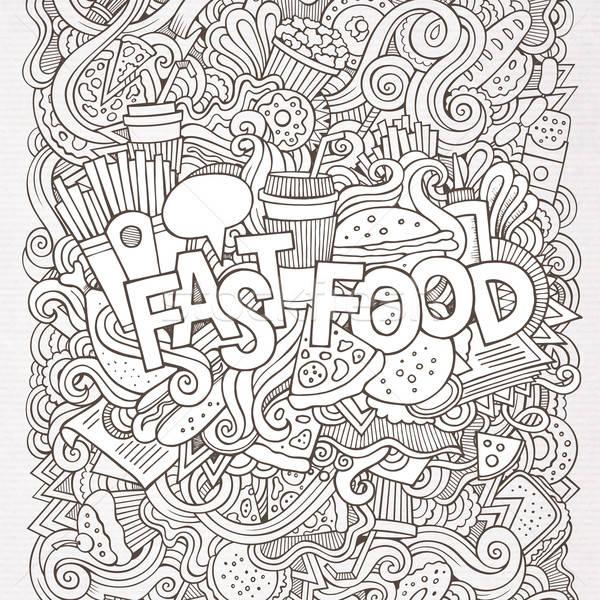De comida rápida mano garabatos elementos alimentos café Foto stock © balabolka